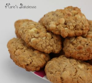 white chocolate and oat cookies