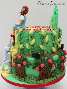 side view trees and sweetcorn cake