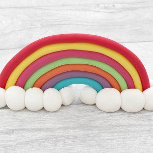 bright rainbow cake topper