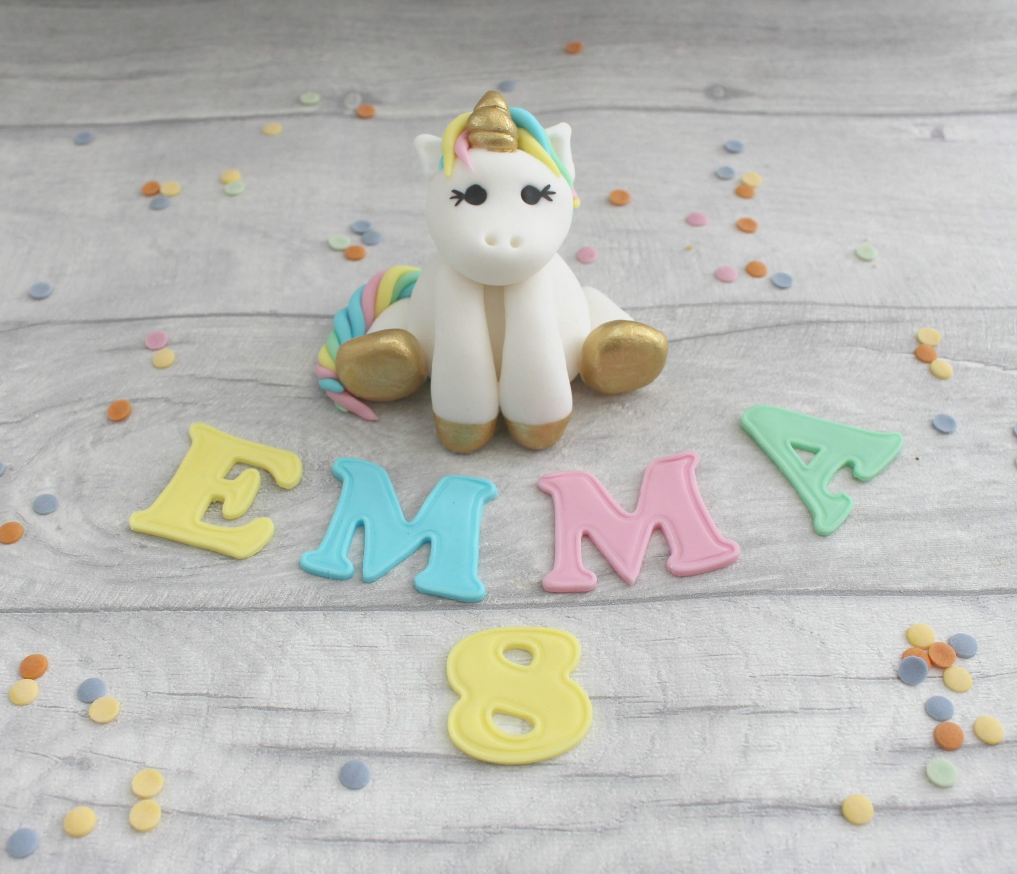 unicorn and letters cake toppers
