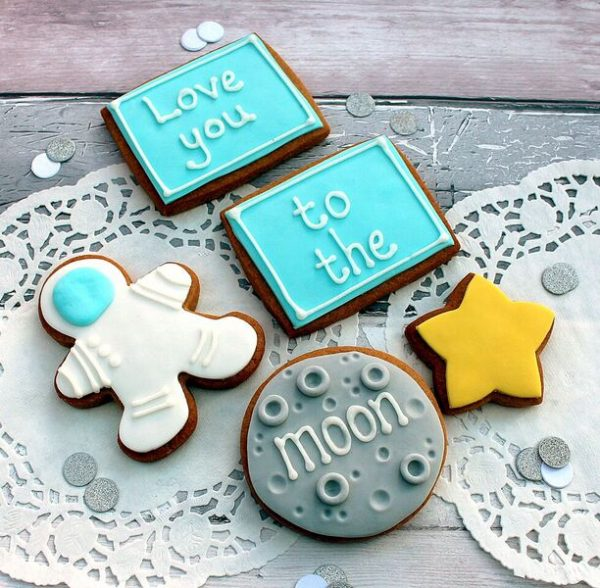 love you to the moon anniversary cookie gift