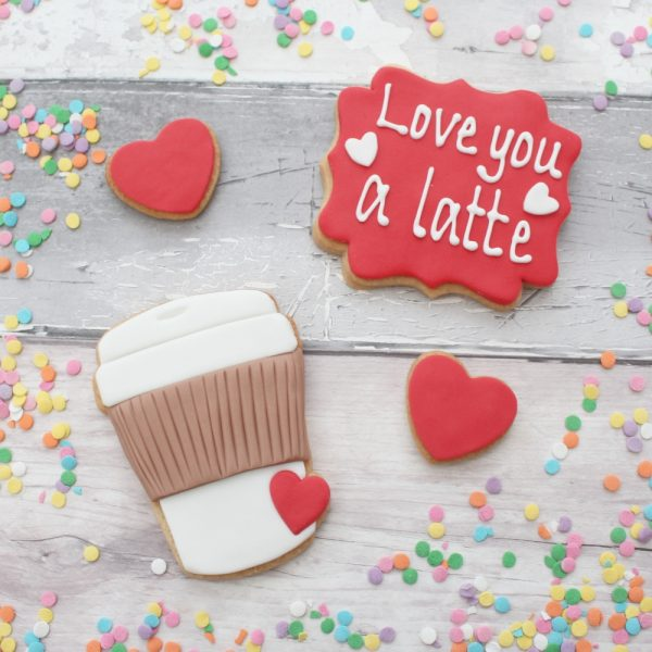 Love you a latte valentine's cookies