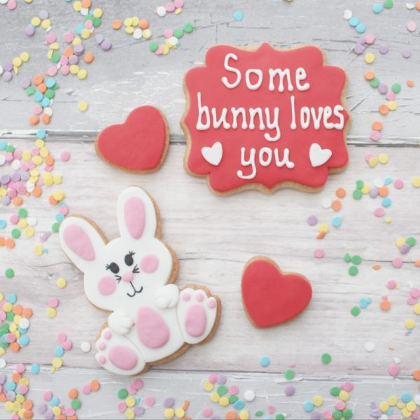 bunny themed valentines cookie gift