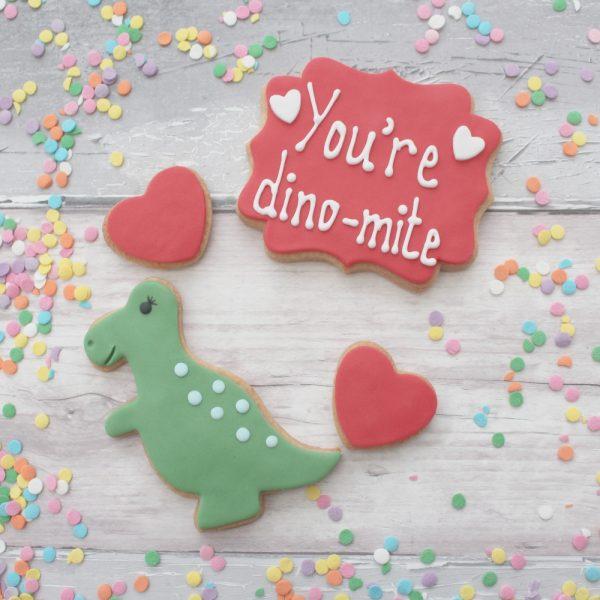 dinosaur valentines cookies
