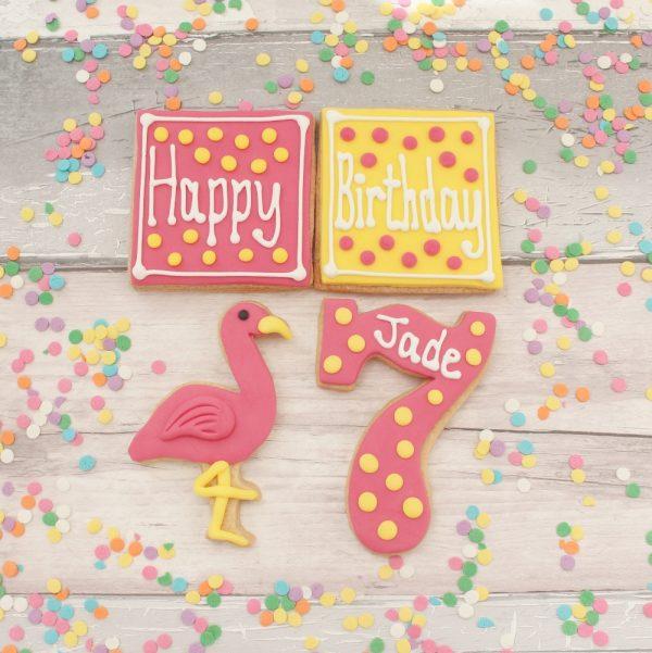 birthday cookie flamingo set
