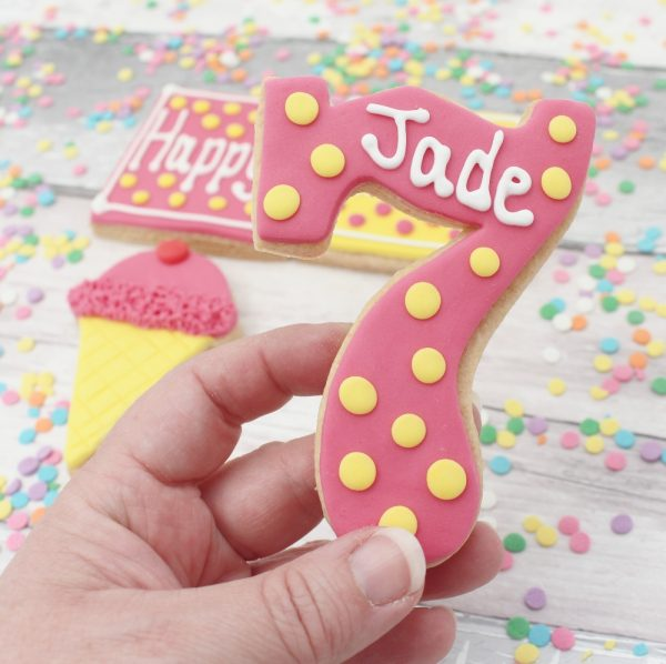 name and age personalised biscuit
