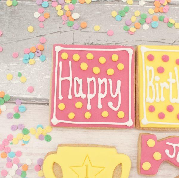 personalised birthday biscuit set