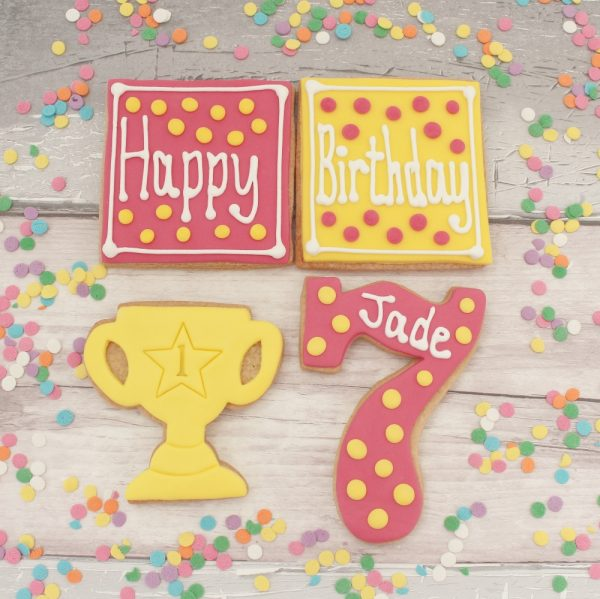 decorated birthday cookie set