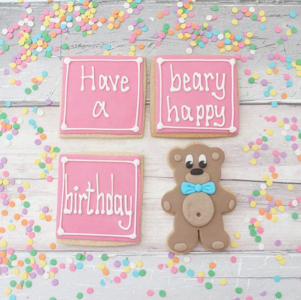 bear birthday cookie gift