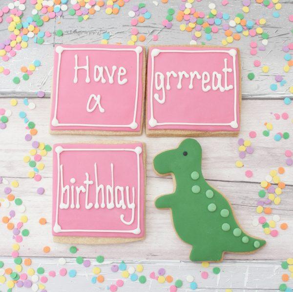 dinosaur birthday cookie gift