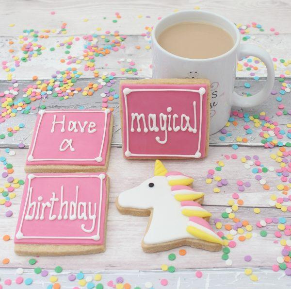 unicorn cookie birthday gift set